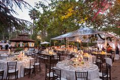 Rancho Las Lomas   El Teatro clear tent outdoor dining sunset  candlelight