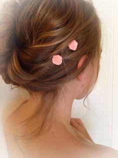 Coral Rose Bobby Pin