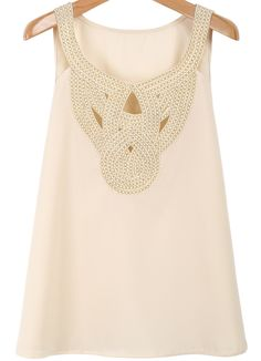 Apricot Sleeveless Hollow Chiffon Vest 14.33