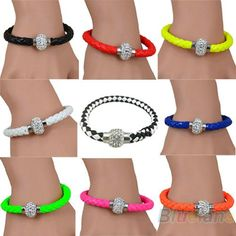 2013 New Mix Leather Wrap Wristband Cuff Punk Magnetic Rhinestone Buckle Bracelet Bangle for Women 029X 2N1X Orange