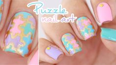 Colorful Puzzle Pieces Nail Art || using nail vinyls from PonchiNail