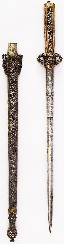 Persian dagger, 19th century, steel, silver, gold, L. with sheath 18 1/16 in. (45.9 cm); L. without sheath 16 13/16 in. (42.7 cm); L. of blade 12 1/4 in. (31.1 cm); W. 1 7/8 in. (4.8 cm); D. 13/16 in. (2.1 cm); Wt. 7.8 oz. (221.1 g); Wt. of sheath 7.8 oz. (221.1 g), Met Museum.