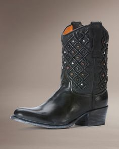 """Women's Deborah Pin Tuck Boot - Black    Pin-tuck quilting at its finest and most elaborate. Deborah is bedecked in multi-colored studs and burnished and polished to a shine. Fully lined. No two precisely alike.          Product Details  SKU: FRYE-3477891-BLK  .    Antique pull up leather  Leather upper material  Leather sole  12"""" shaft circumference (based on size 7)  7 1/2"""" shaft height  1 3/4"""" heel  Medium width  FRYE"""
