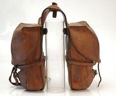 Vintage leather saddlebag for the scrambler