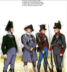 Austrian; Landwehr in 1809. L to R Hauptman and Private Styrian Landwehr, Private Bohemian Landwehr & Jaeger Upper Austrian Landwehr