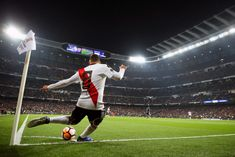 Juan Quintero of River Plate takes a corner during the second leg of. Bernabeu, Thing 1, Madrid, Two By Two, Take That, Corner, Plates, History, Finals