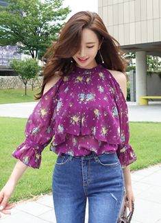 Korean Women`s Fashion Shopping Mall, Styleonme. Cute Skirt Outfits, Crop Top Outfits, Classy Outfits, Girls Fashion Clothes, Girl Fashion, Fashion Dresses, Purple Fashion, Trendy Fashion, Stylish Tops For Women