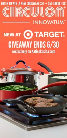 Enter to win a @Circulon Innovatum Cookware set + $50 Target Gift card! Ends 6/30 on Katie's Cucina