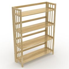 No Assembly Folding Four Shelf Bookcase (32 Inches Wide)