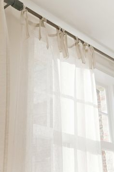 Tie Top Linen Curtains - Love the little details when everything is shades of white.