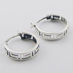 Hoop earrings 925 sterling silver open work geometric pattern 20mm round new PSA