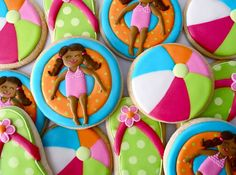 Pool party cookies with beach balls and kids on inflatables!