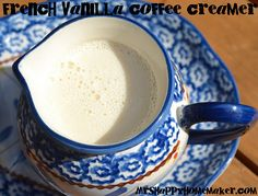 French Vanilla Coffee Creamer  14oz sweetened condensed milk  14oz milk (whole, lowfat, or skim - doesn't matter)  2 teaspoons vanilla extract  a mason jar (quart is perfect)  Pour all of the ingredients into your mason jar.  Screw the lid on tightly, and shake vigorously for a few minutes until well combined.