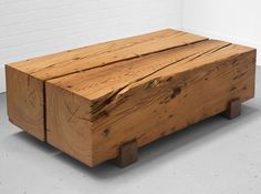 Big wood block table