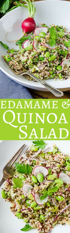 Edamame & Quinoa Salad - Here's an easy, healthy quinoa salad recipe! With edamame, radishes and fresh herbs, it's a great Spring or Summer side dish or vegan main! Source by asliceofstyle Chopped Salad Recipes, Spinach Salad Recipes, Healthy Salad Recipes, Vegetable Recipes, Vegetarian Recipes, Vegetarian Salad, Recipes With Radishes, Healthy Tips, Radish Recipes