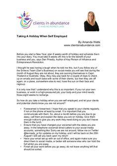 Taking A Holiday When Self Employed by Amanda Watts via slideshare #health #wellness #fitness #marketing