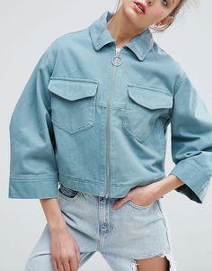 Pretty cropped oversized workwear style jacket