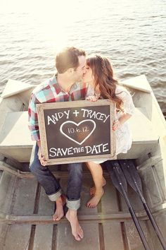 This is a cute idea to have the save the date as part of the picture