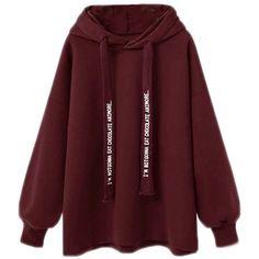 Lady'S Loose Hoodie ($19) ❤ liked on Polyvore featuring tops, hoodies, hooded pullover, loose fit tops, red top, loose tops and sweatshirt hoodies