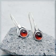 Garnet Earrings January Birthstone Earrings by BonnyJewelry