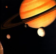 Saturn's moons - Nasa photo montage from Voyager 1