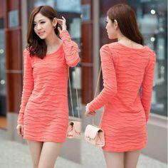 5 Colors Plus Size Women Basic Shirt Dress 2013 Autumn Winter Female O Neck Solid Color Long-Sleeve Slim Hip Bandage Mini Dress