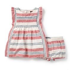 Horizon Stripe Baby Flutter Dress   Muted stripes inspired by sunsets along the horizon style this sweet dress with fluttering sleeves and smocked chest.