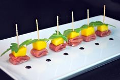Mango and Prosciutto Skewers  This elegant hors d'oeuvre could not be any easier. It requires no cooking and can be prepped a few hours in a...