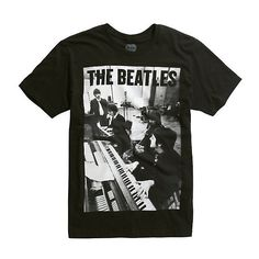 The Beatles Piano Photo T-Shirt Hot Topic ($17) ❤ liked on Polyvore featuring tops, t-shirts, cotton tee, cotton t shirts, black and white top, black and white t shirt and black white top