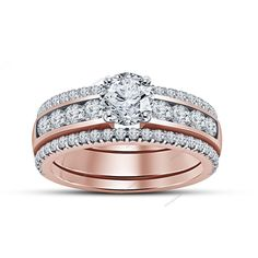 14k Rose Gold Finis 925 Silver Round Sim.Diamond 2.24 CT Bridal Ring Set V Prong #aonejewels