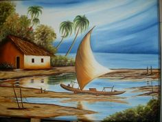 Ballerina Painting, Boat Painting, Landscape Art, Landscape Paintings, Caribbean Art, Z Arts, Sea Art, Coloring For Kids, Hobbies And Crafts
