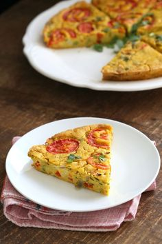 This Chickpea flour frittata is filling, easy and delicious. Use the batter to make pancakes, crepes, crustless quiche. Vegan Breakfast Casserole, Savory Breakfast, Healthy Breakfast Recipes, Chickpea Flour Pancakes, Chickpea Flour Recipes, Vegan Foods, Vegan Recipes, Vegan Quiche, Vegetable Frittata