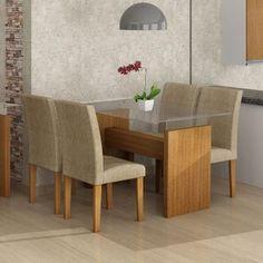 Conjunto de Mesa Evidence 1.2 com 4 Cadeiras Classic Castanho Suede Amassado Cappuccino 46