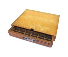 Brass Engraving Plates in Wooden Storage Box by worldvintage
