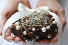 Ring bearer pillow Rustic ring box bird nest ring bearer Wedding ring box Rustic wedding ring bearer moss nest Woodland ring holder LYSANDER by WildRoseAndSparrow on Etsy https://www.etsy.com/listing/194182304/ring-bearer-pillow-rustic-ring-box-bird