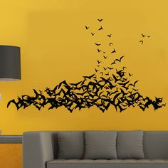 HighFS Halloween Black Bat Vinyl Art Decal Mural Home Decor Removable Wall Sticker for Bedrooms, 58.55'W X 34.58'H * Quickly view this special  product, click the image : home diy wall
