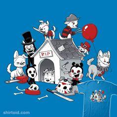Horror Pups   Shirtoid #alfredpennyworth #alisonacton #billythepuppet #dog #dogs #dooomcat #film #freddykrueger #ghostface #horror #jasonvoorhees #leatherface #michaelmyers #movies #pinhead #puppies #puppy #samara