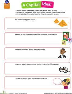 First Grade Writing Sentences Grammar Worksheets: Get into Grammar: Capitalizing Proper Nouns
