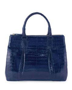 Plisse Large Crocodile Tote Bag, Electric Blue by Nancy Gonzalez at Neiman Marcus.