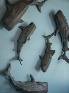 Resin-cast whale shark figures offer a nod to the home's coastal location and create an intriguing focal point. Diy Wood Projects, Wood Crafts, Woodworking Projects, Whale Decor, Diy Network, Wood Plans, Fish Art, Animal Sculptures, Wood Sculpture