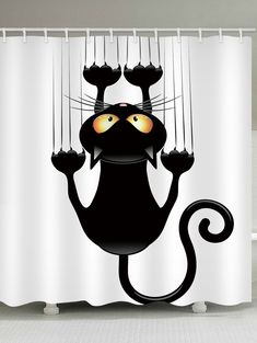 Cute cat bathroom curtain design, easy to hang using the hooks provided - Environment-friendly and non-toxic, no harm to your family - You can use this special shower curtain as bathroom decor, but also it is a good gift for your family Unique Curtains, Cheap Shower Curtains, Shower Curtain Sizes, Home Curtains, Bathroom Curtains, Fabric Shower Curtains, Fancy Curtains, Ada Bathroom, Bathrooms