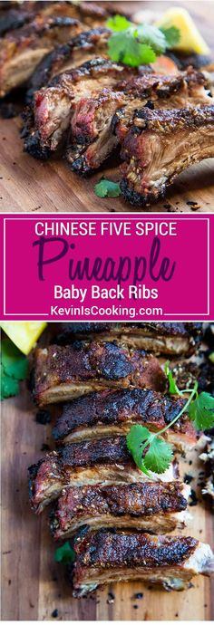 Pineapple Five Spice Pork Ribs get an Asian influence with Chinese Five Spice Powder, sesame oil , soy sauce, ginger, white pepper and pineapple. So good! via @keviniscooking