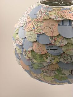 paper #lantern covered in map circles