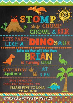 Editable Girl Dinosaur Invitation Pink Dinosaur Invitation