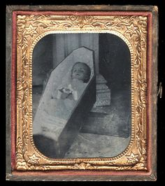 Post Mortem Ruby Ambrotype Photo of Baby in Coffin