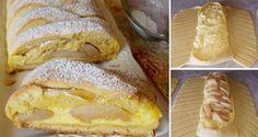 Prokládaný křehký závin s tvarohovou náplní a jablky Eclairs, Delicious Desserts, French Toast, Bread, Breakfast, Food, Eclair, Breads, Hoods