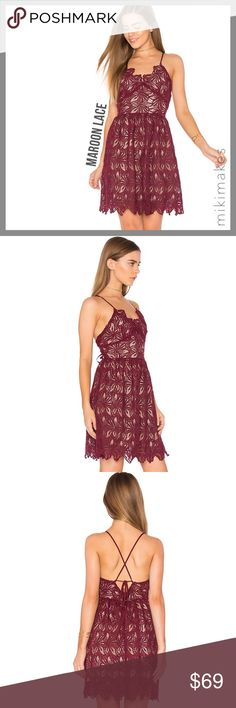 """🆕 J.O.A. • NWT maroon lace fit & flare dress • BRAND NEW with tags gorgeous maroon crochet dress from LA based brand J.O.A. (Just One Answer) • cute sweetheart fitted bust that flares to a full skirt • scalloped hem • back hidden zipper with lace up tie closure • fully lined  100% polyester Dry clean only  ✂️  Bust = 35"""" ✂️  Waist = 29"""" ✂️  Length = 31"""" (from top of bust to hem)  • sorry no trades • please feel free to ask any questions  ❤️ @mikimakes J.O.A. Dresses Mini"""