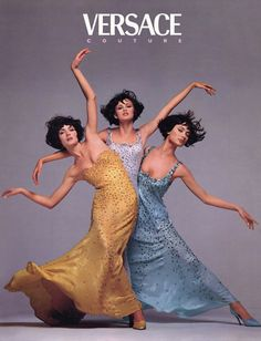 Amber Valletta, Trish Goff and Shalom Harlow for Gianni Versace, photographed by Richard avedon, Fall/Winter 1995 Vogue Vintage, Vintage Versace, Gianni Versace, Richard Avedon Photography, Richard Avedon Photos, Shalom Harlow, Amber Valletta, Versace Fashion, 90s Fashion