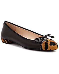 Prada Leopard-Printed Hair & Leather Ballet Flat
