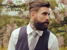 Slick Back Haircut, Beard & Tattoos Men's Hair Trends Hair Trends 2015, Mens Hair Trends, Beard Styles For Men, Hair And Beard Styles, Bart Tattoo, Slick Back Haircut, Bart Styles, Mens Hairstyles Pompadour, Ricki Hall
